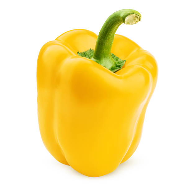 sweet yellow pepper, paprika, isolated on white background, clipping path, full depth of field sweet yellow pepper, paprika, isolated on white background, clipping path, full depth of field yellow bell pepper stock pictures, royalty-free photos & images