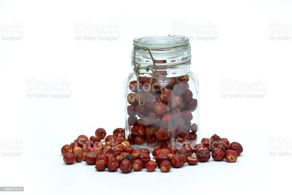 sweetbrier in sealed glass jar stock photo