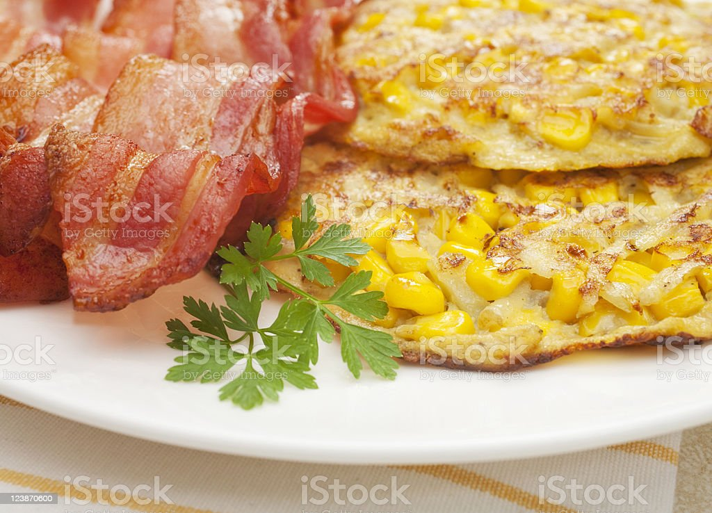 Sweetcorn Corn Fritters and Bacon stock photo