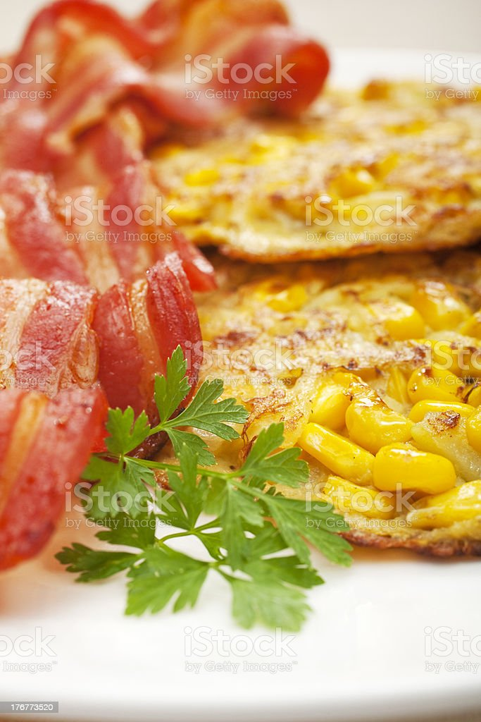 Sweetcorn Corn Fritters and Bacon royalty-free stock photo