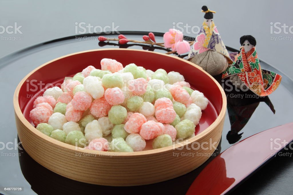 Sweetened Rice-flour Cakes for Offering at Dolls' Festival in Japan stock photo