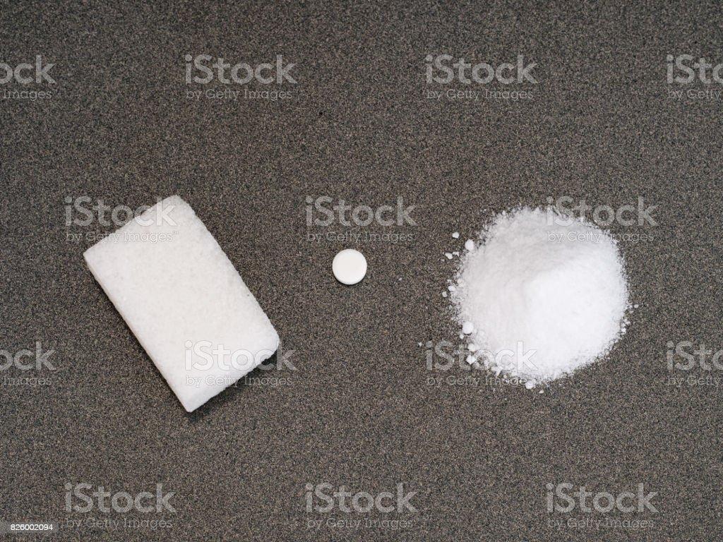 Sweeteners. Choice. Sugar, aspartame or artificial sweetener. stock photo