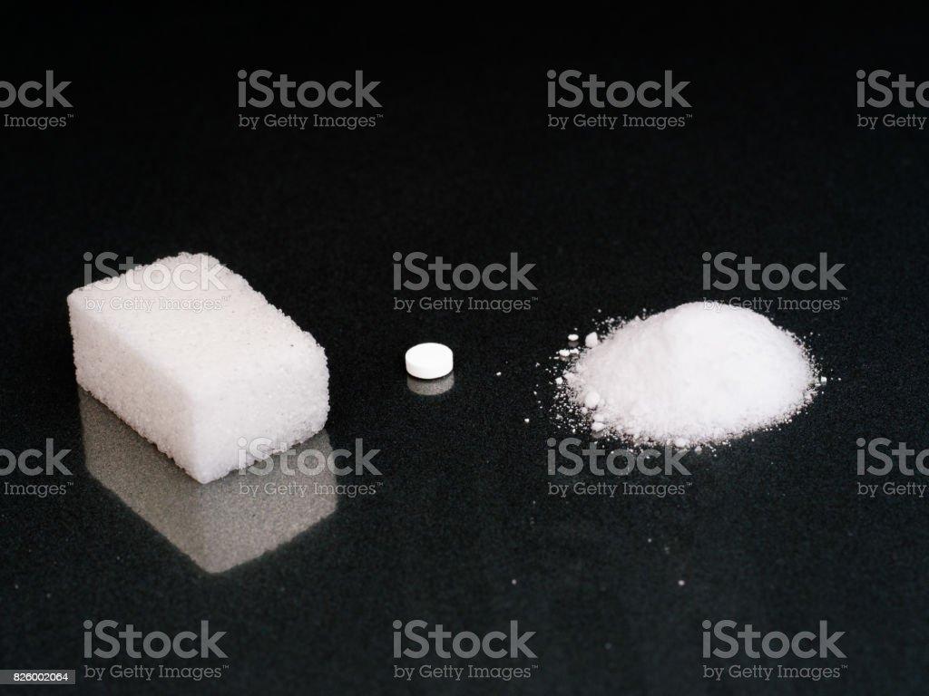 Sweeteners. Choice. Sugar, aspartame tablet or artificial sweetener. stock photo