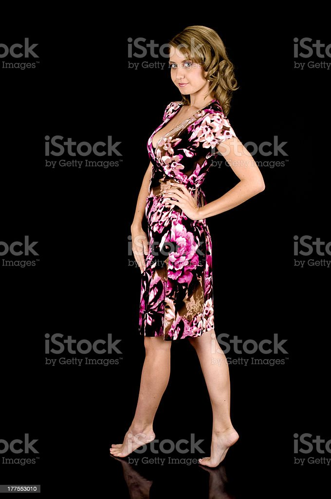 Sweet-Faced Fashion Model in Colorful Spring Outfit. royalty-free stock photo