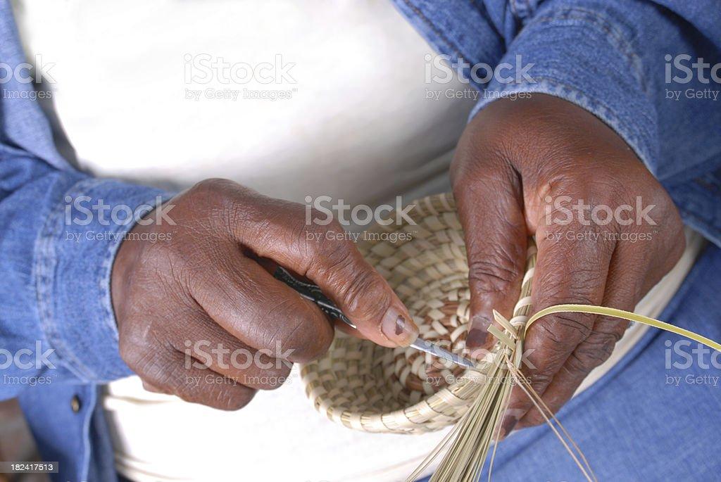 Sweetgrass Basket Weaving royalty-free stock photo