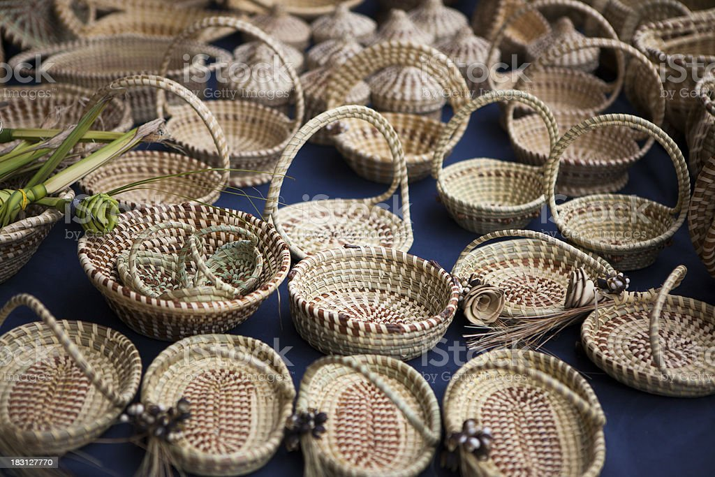 Sweetgrass baskets for sale royalty-free stock photo