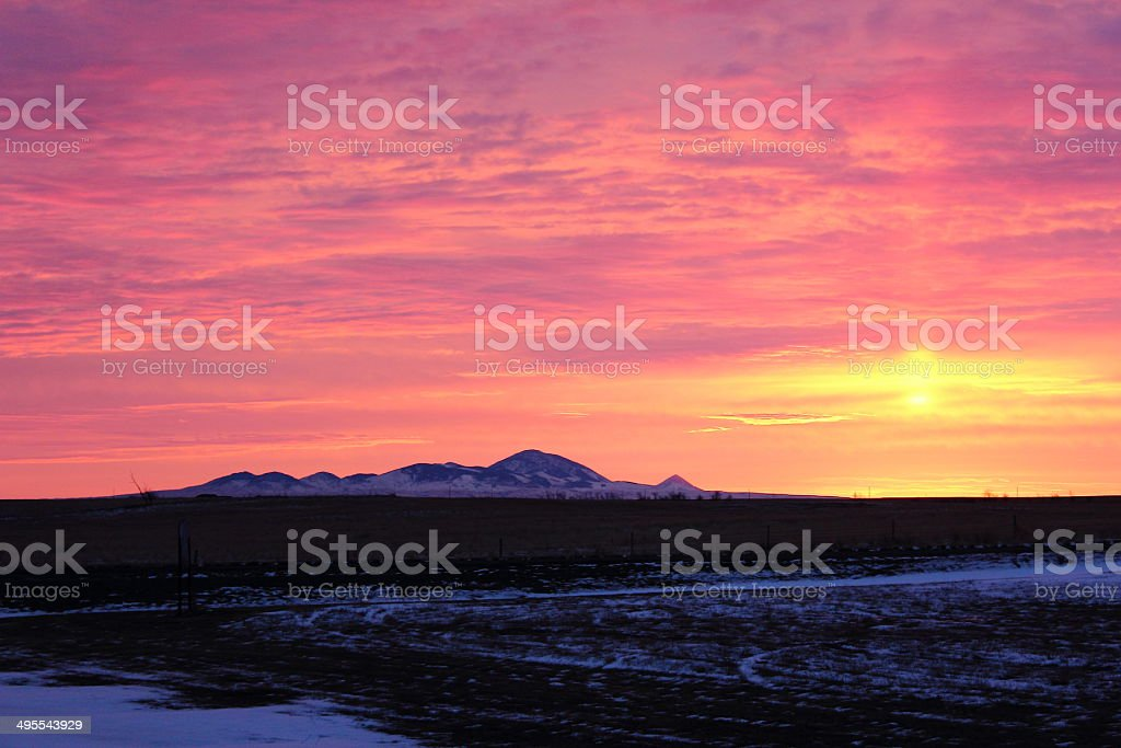 Sweetgrass Hills, Southern Alberta at Winter Sunrise stock photo