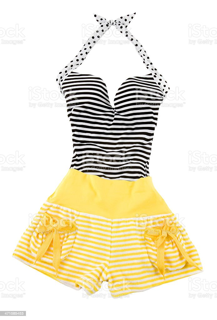 Sweetheart halter cute striped fashion look royalty-free stock photo