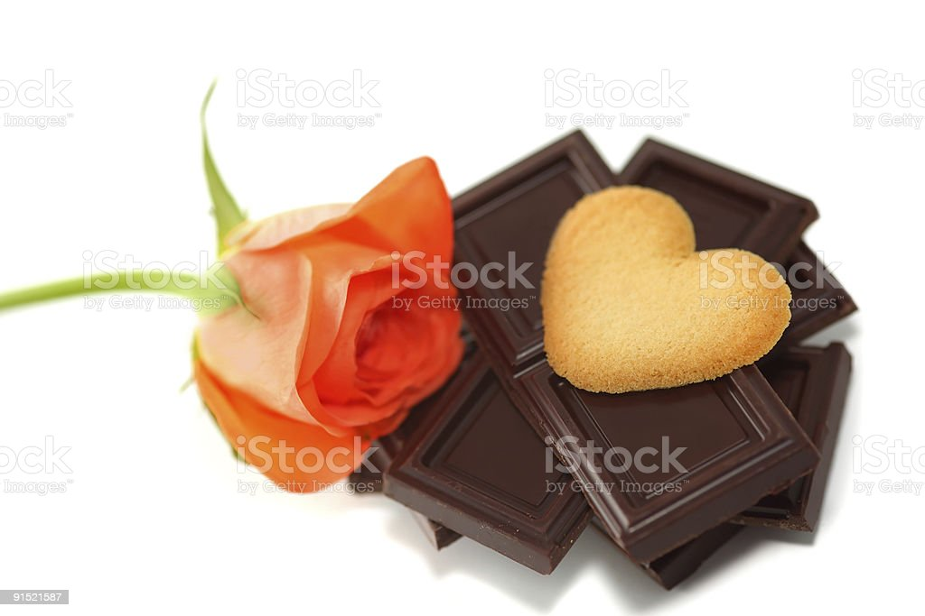 Sweets & rose royalty-free stock photo