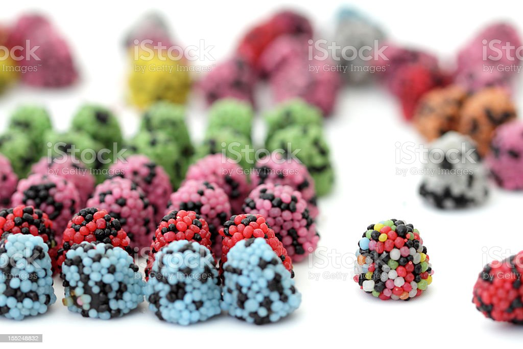 sweets lined up stock photo