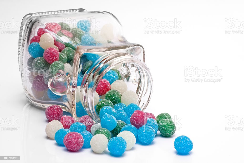 Sweets Sugar Candy Balls in a Jar of Glass stock photo