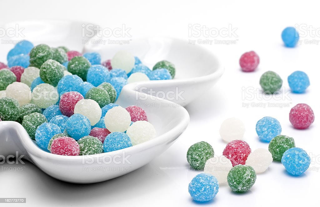 Sweets Sugar Candy Balls on Ceramic Flower royalty-free stock photo
