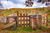 Sweetwater Creek State Park and mill ruins in Douglas County outside Atlanta, GA, USA.