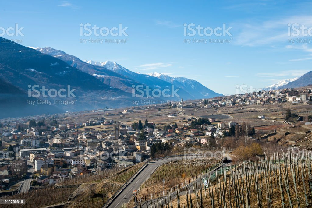 Swerving road above Sondrio, an Italian town and comune located in the heart of the wine-producing Valtellina region stock photo