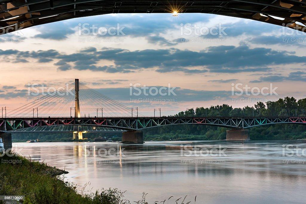 Swietokrzystki bridge over Vistula river  in Warsaw stock photo