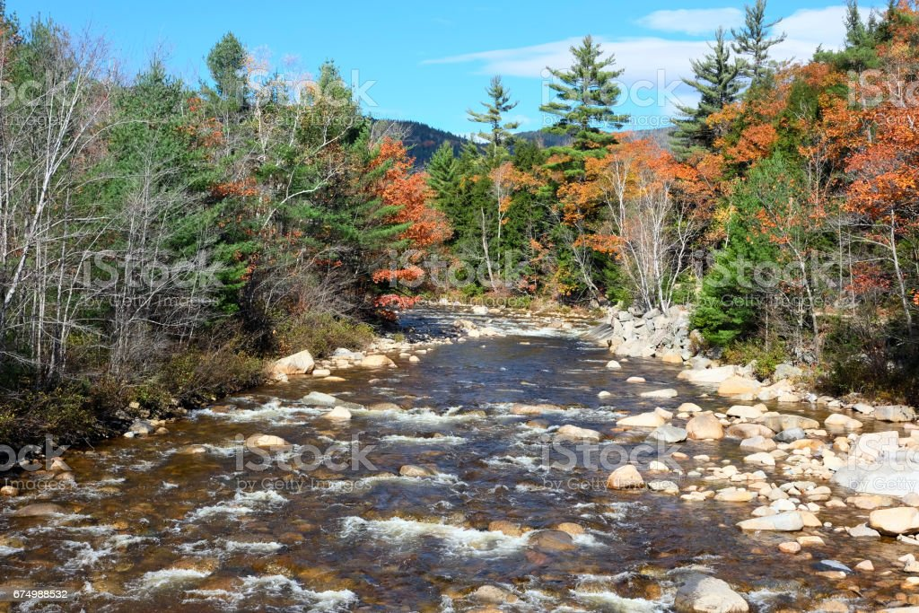Swift River at autumn stock photo