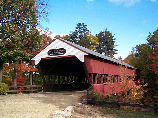 Swift River Covered Bridge Swift River Covered Bridge in Conway, New Hampshire conway new hampshire stock pictures, royalty-free photos & images