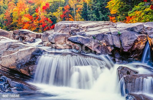 istock Swift river in Autumn White Mountains, New Hampshire 666156546