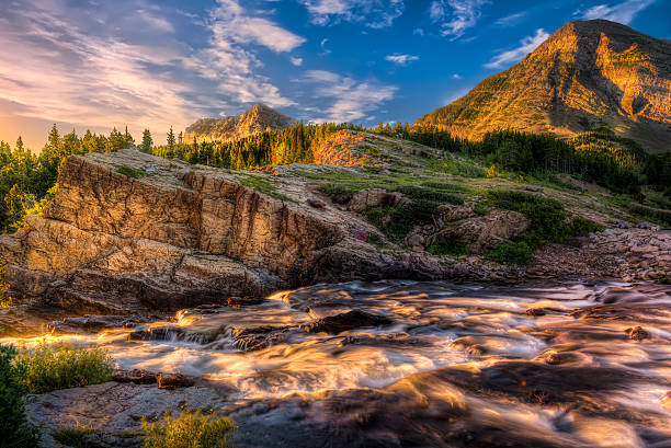 swiftcurrent creek at dawn - us glacier national park stock pictures, royalty-free photos & images