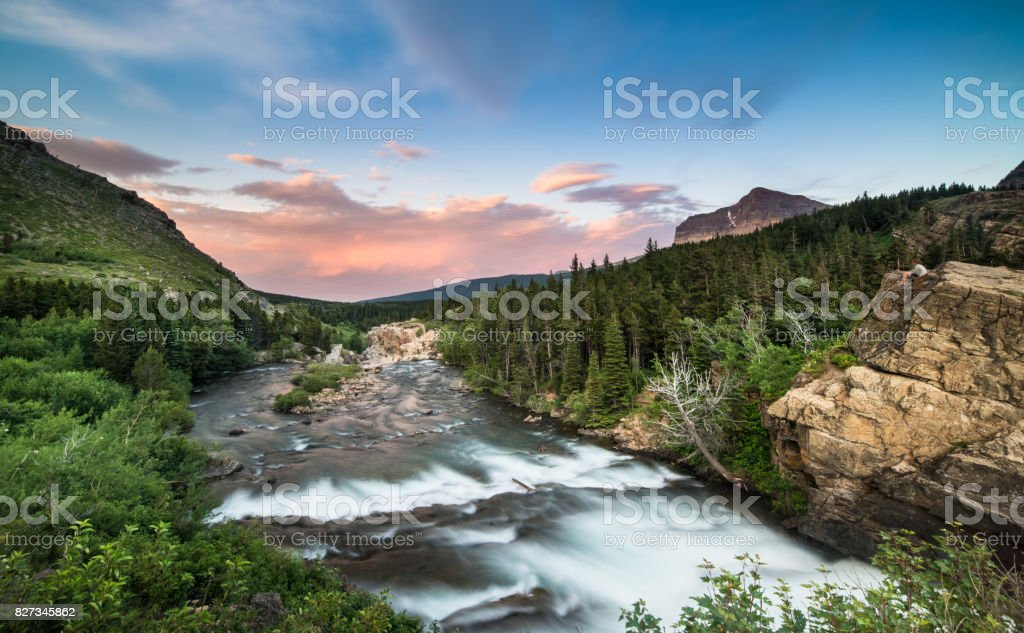 Swiftcurrent Falls - Glacier National Park, Montana stock photo