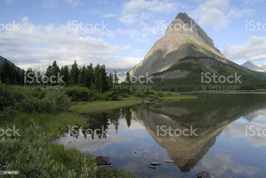 Swiftcurrent Lake and Grinnell Point royalty-free stock photo