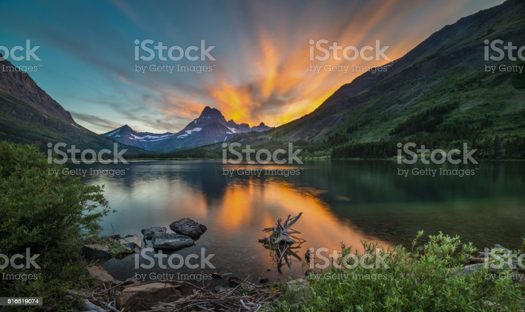 Swiftcurrent Lake at Dawn royalty-free stock photo