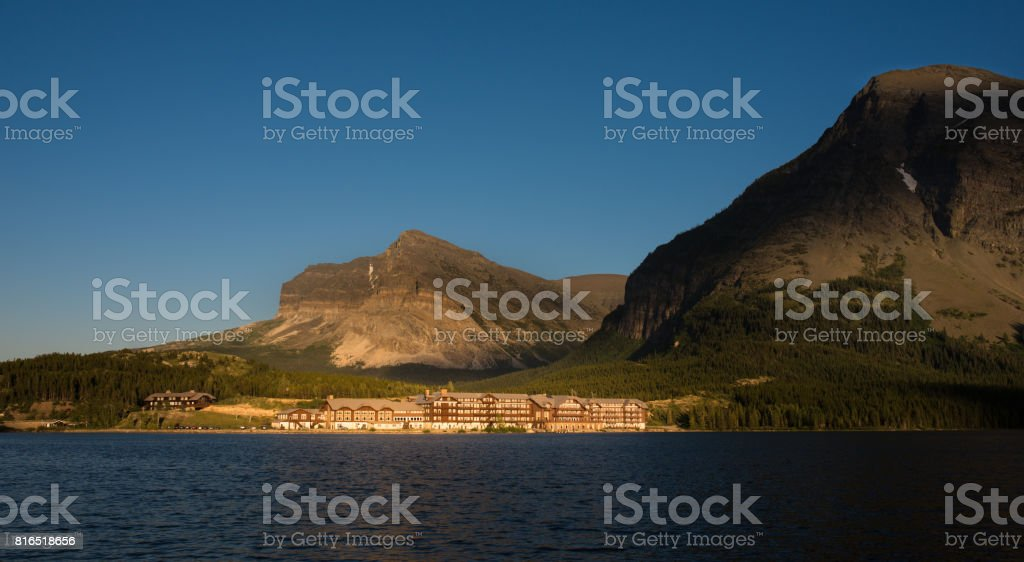 Swiftcurrent Lake at Sunset stock photo