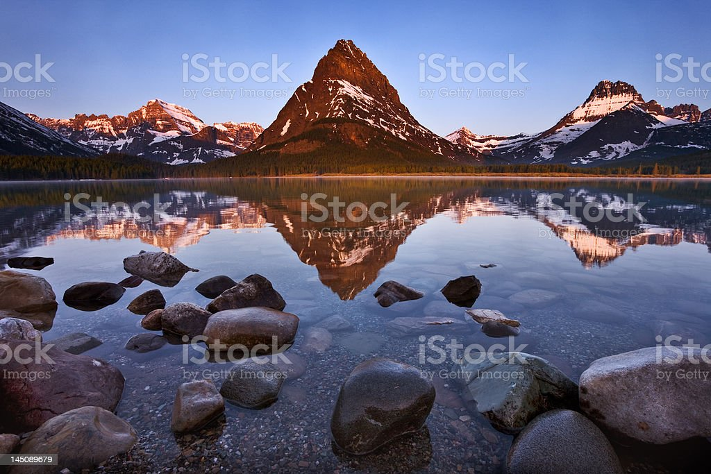 Swiftcurrent Lake, Glacier National Park stock photo