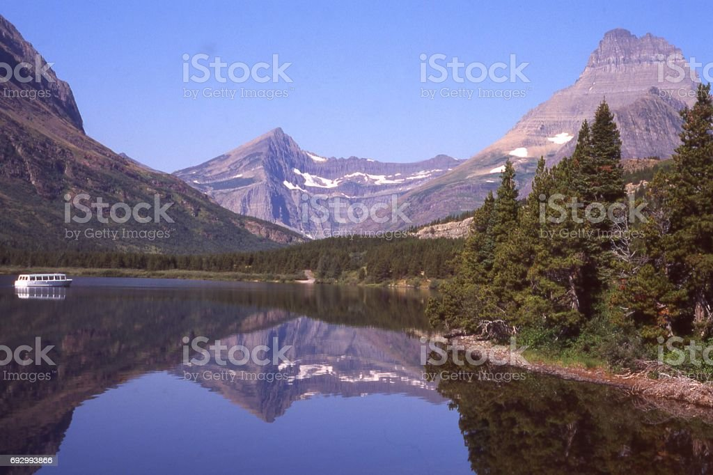 swiftcurrent lake in glacier national park montana looking toward