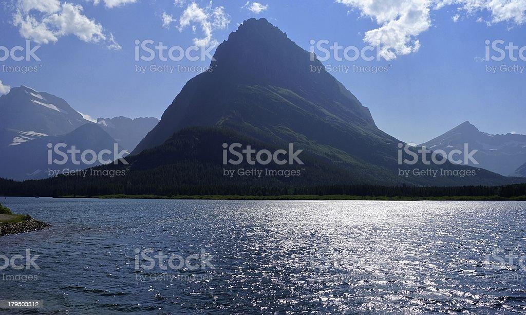 Swiftcurrent Lake Shine stock photo