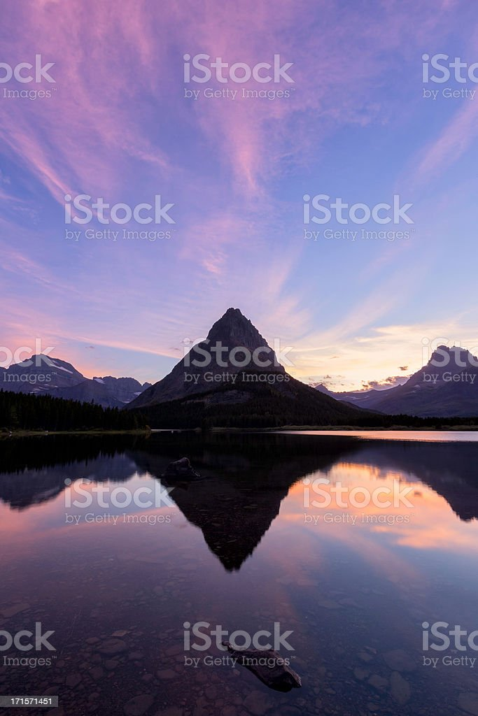Swiftcurrent Lake Sunset royalty-free stock photo