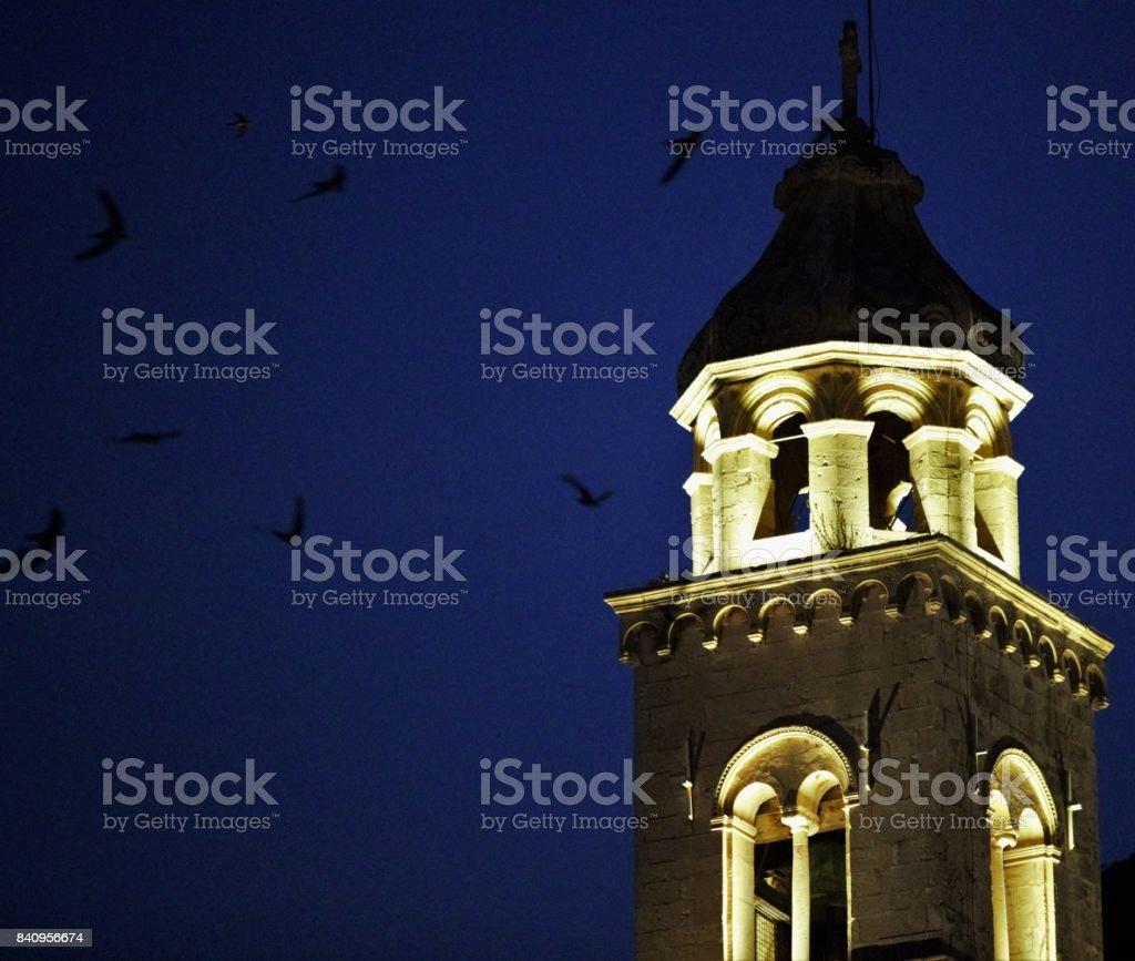Swifts circle the Church stock photo