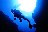 海底の洞窟の中で泳ぐ
