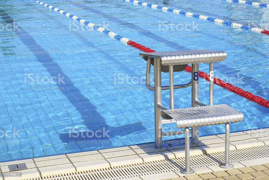 Swim Lanes with starting block - horizontal stock photo