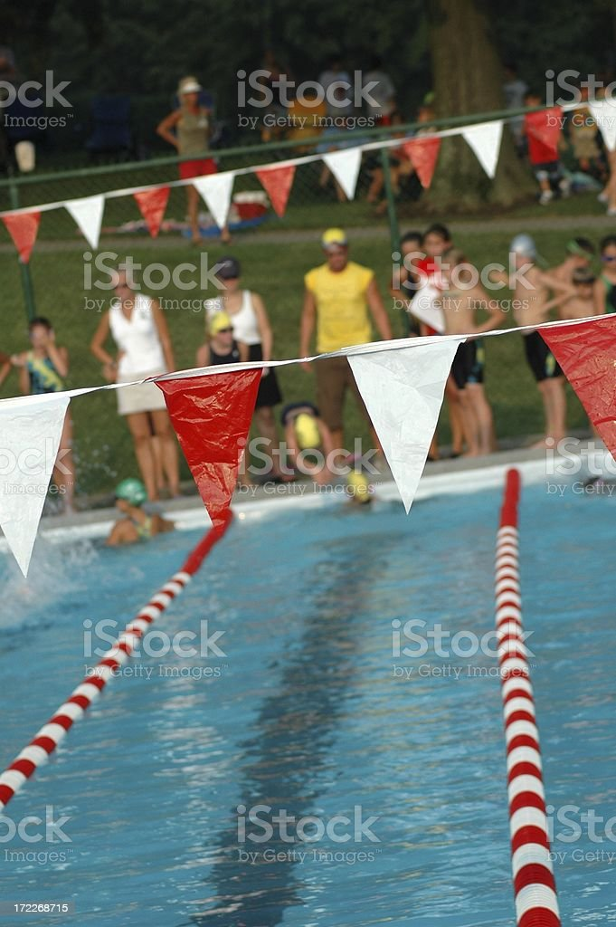 Swim Meet Scene - Focus on Flags stock photo