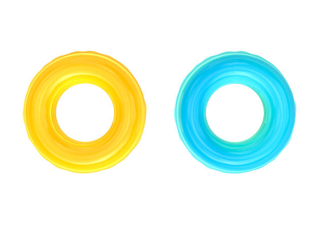 swim rings yellow and blue swim rings on white background buoy stock pictures, royalty-free photos & images