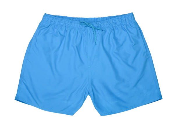 Swim trunks Blue swim trunks isolated on white shorts stock pictures, royalty-free photos & images