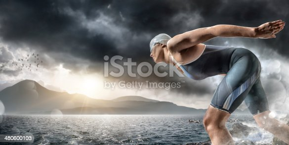 istock Swimmer About To Dive In Sea 480600103