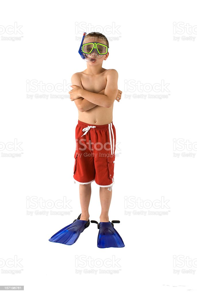 Swimmer Boy Ready For the Pool With Flippers, Snorkel & Mask royalty-free stock photo