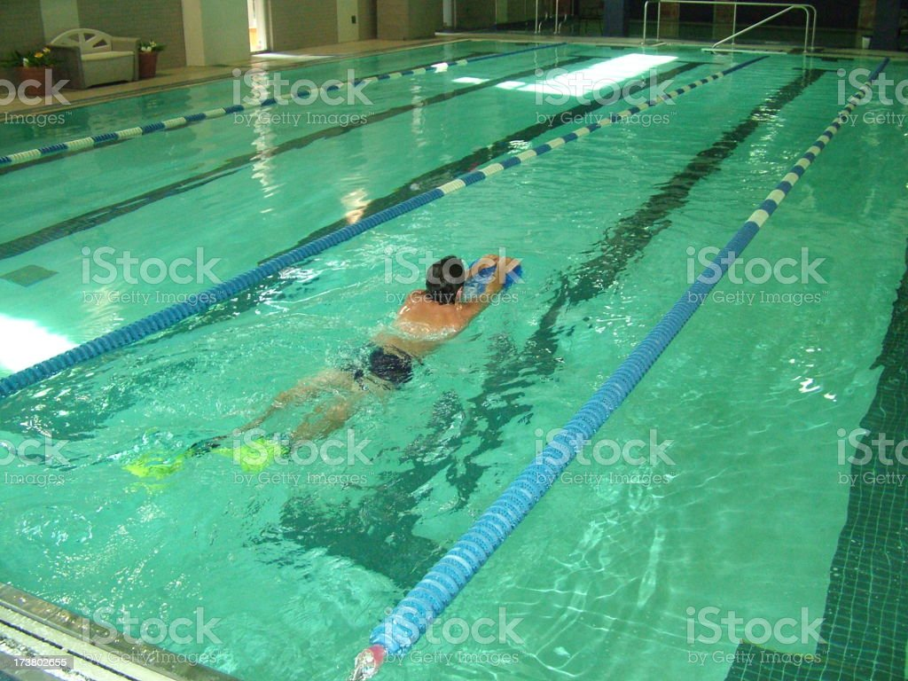 Swimmer Exersizing in a Pool stock photo