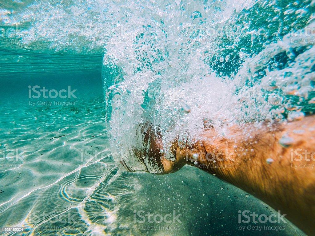 Swimmer hand stock photo