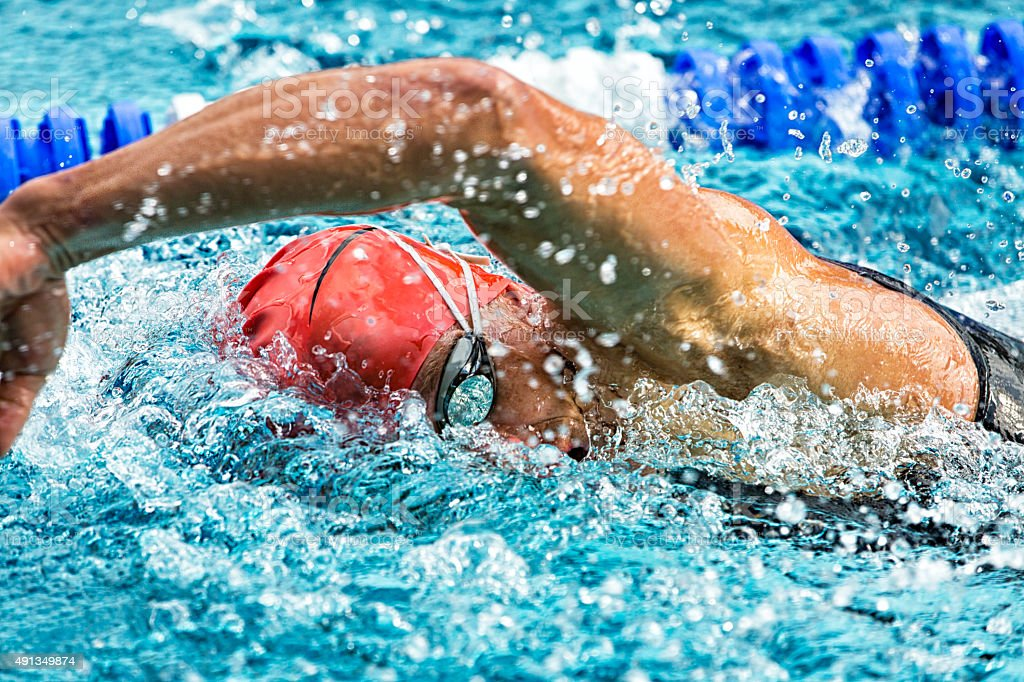 swimmer in a competition stock photo