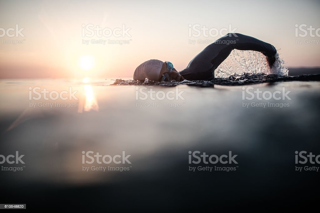 Swimmer in action