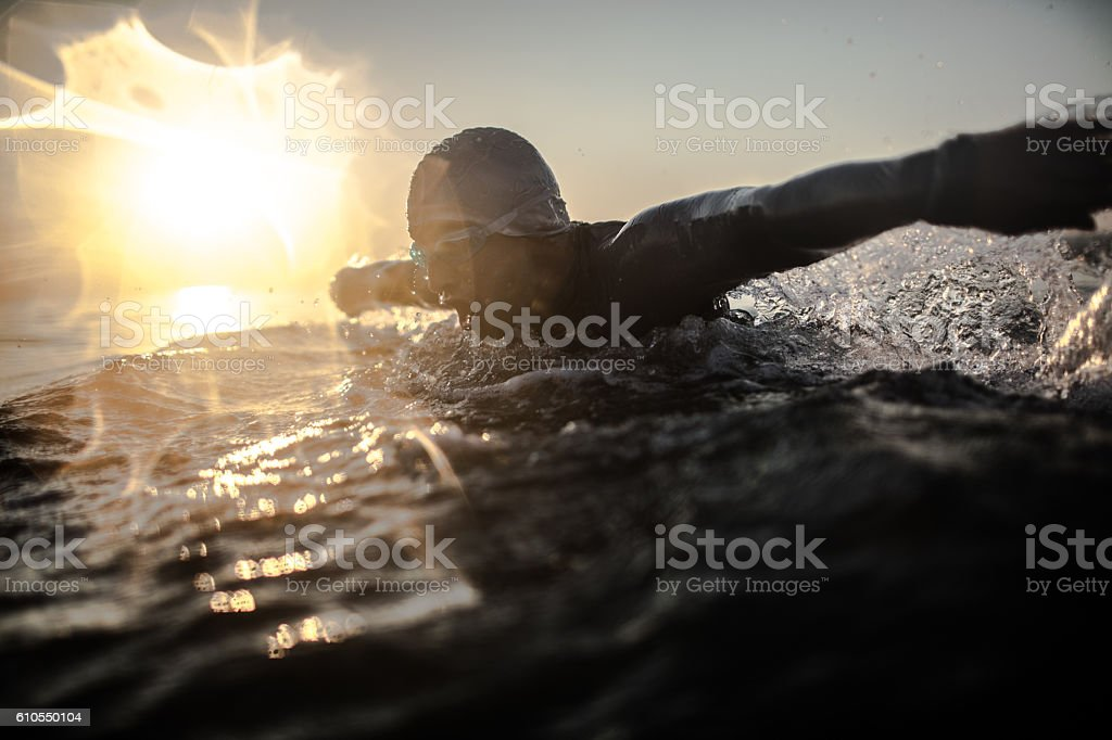 Swimmer in action stock photo