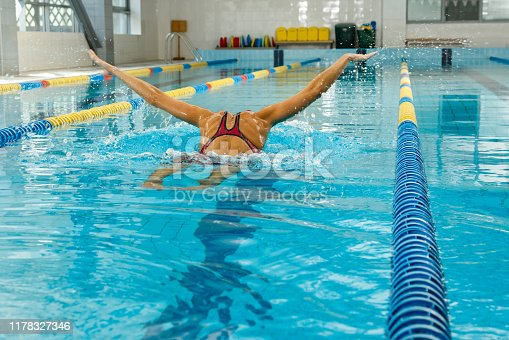 177281231 istock photo Swimmer in the pool 1178327346