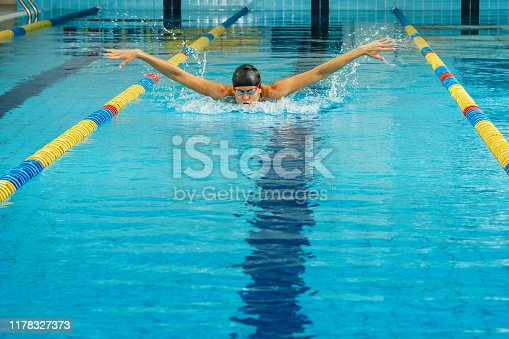 177281231 istock photo Swimmer in the pool 1178327373