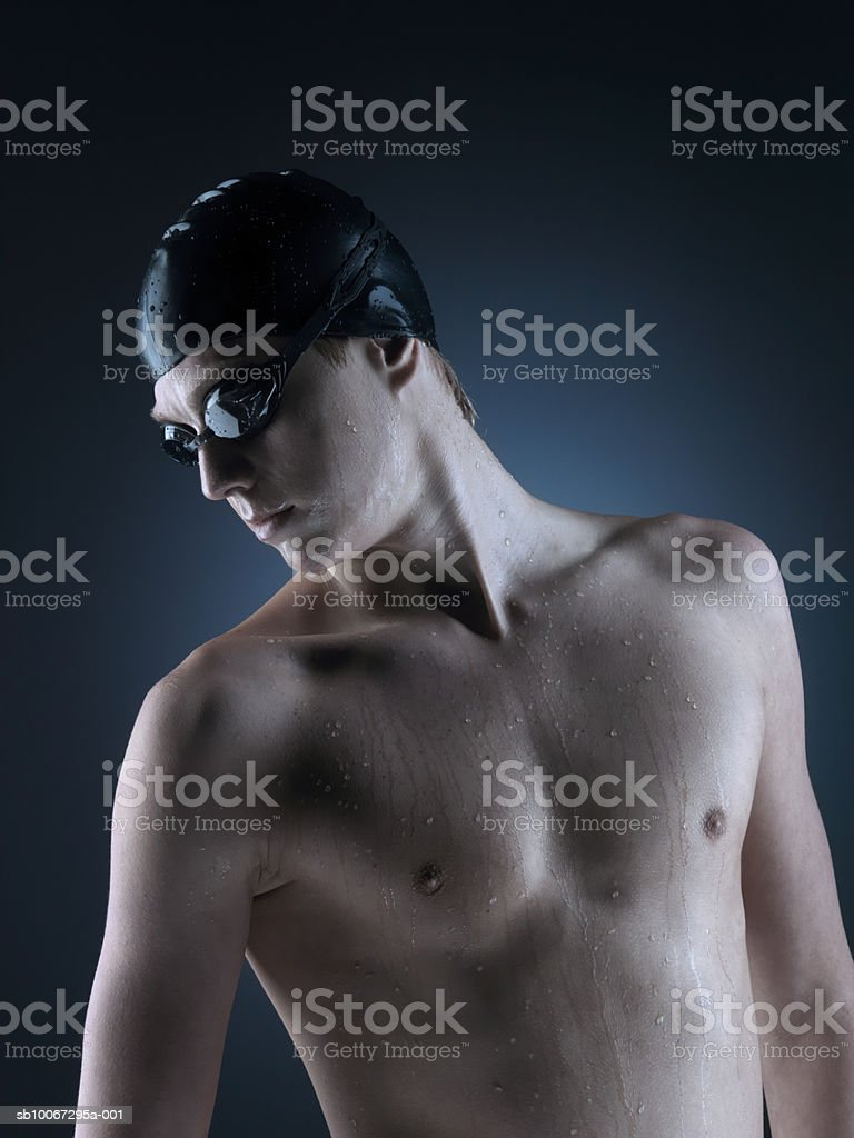 Swimmer looking down, close-up royalty-free stock photo