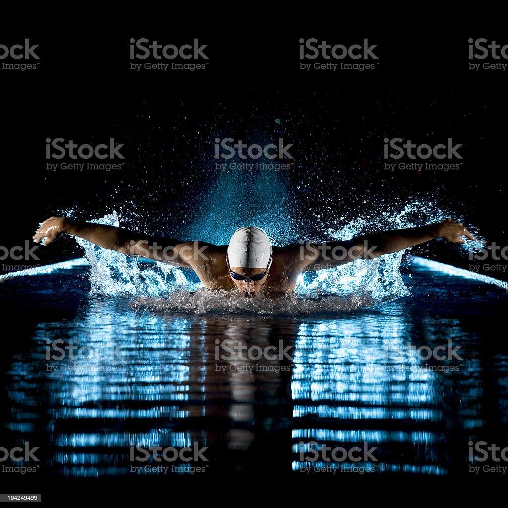水泳バタフライを ストックフォト