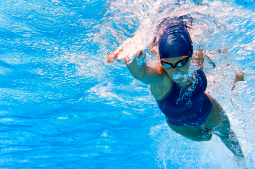 Underwater image of swimmer in action