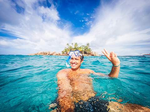 Swimmer Selfie In A Tropical Sea